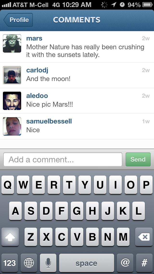 iphone instagram comment compose screenshots mobile