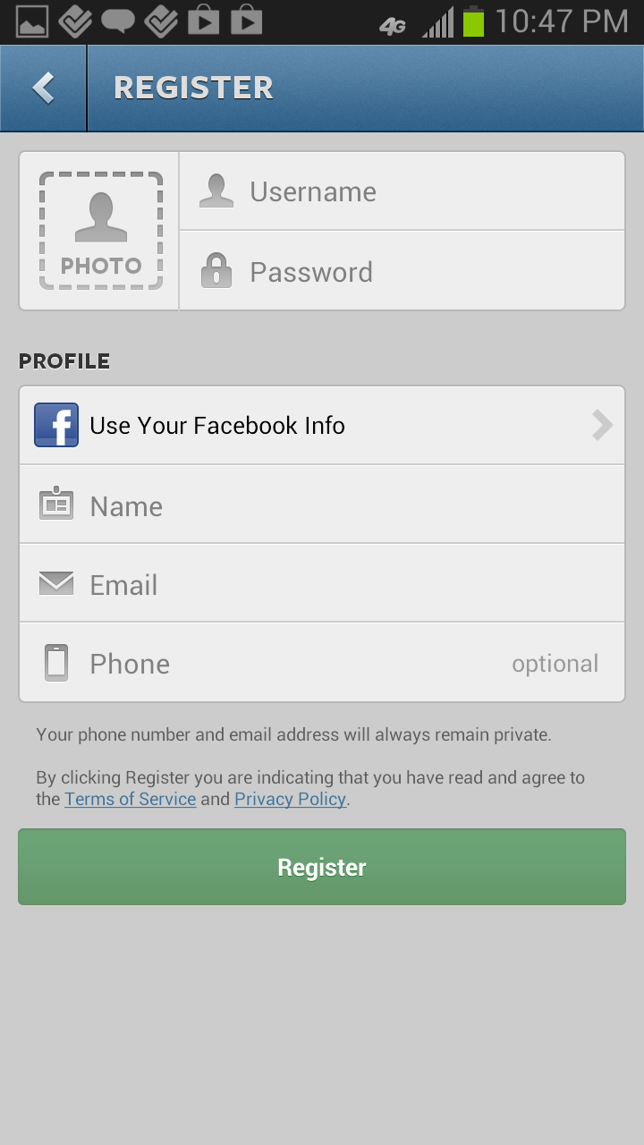 Instagram Android Sign Up Flows