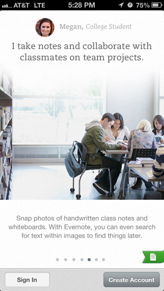 Evernote iPhone walkthroughs screenshot