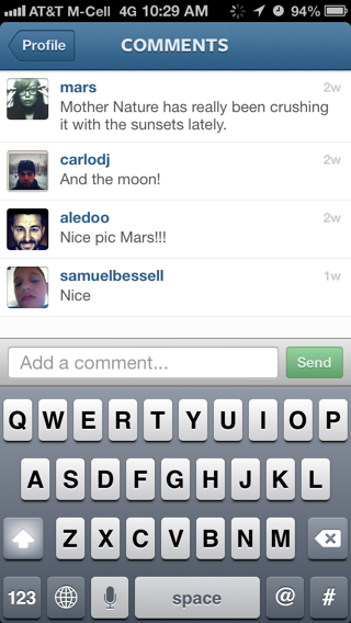 Instagram iPhone comment compose screenshot
