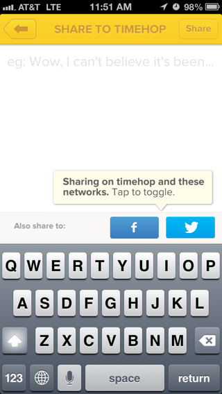 Timehop iPhone compose screens, popovers screenshot