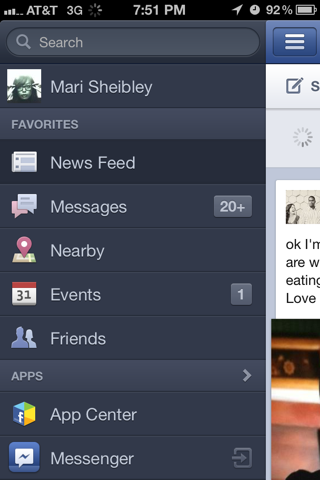 Facebook iPhone custom navigation screenshot