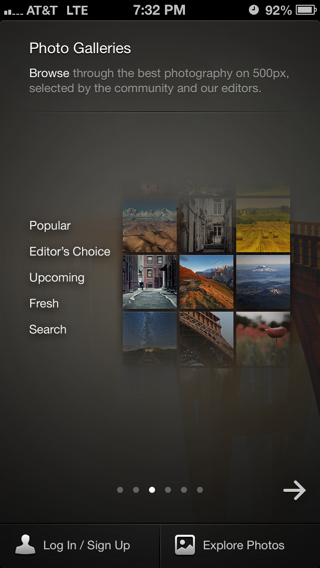 500px iPhone walkthroughs screenshot