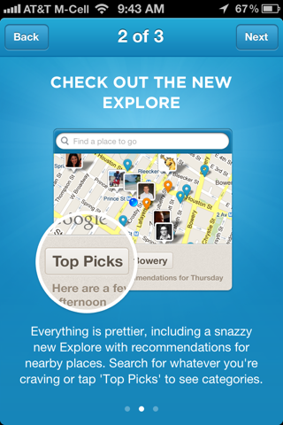 Foursquare iPhone walkthroughs screenshot