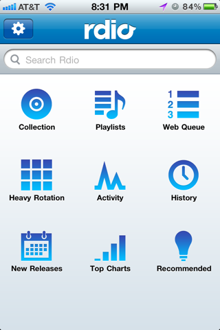 Rdio iPhone custom navigation screenshot