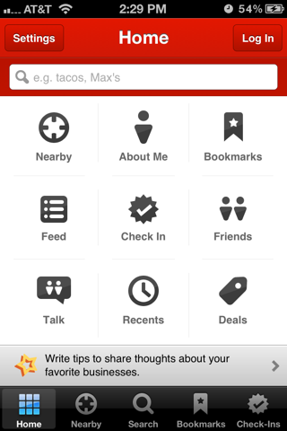 Yelp iPhone custom navigation screenshot