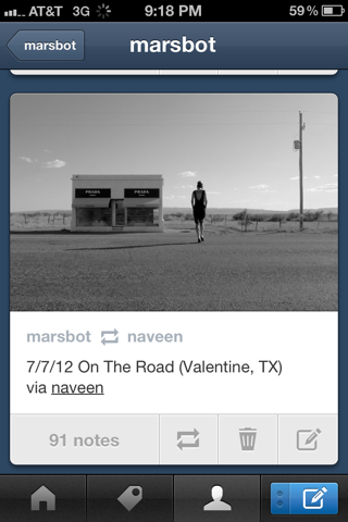 Tumblr iPhone feeds screenshot