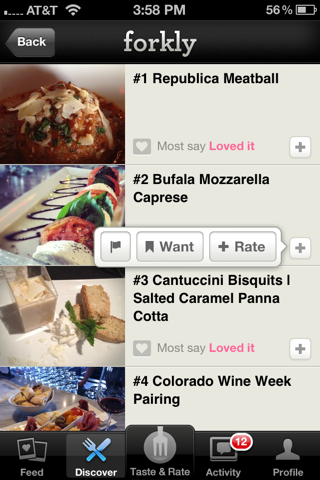 Forkly iPhone popovers screenshot