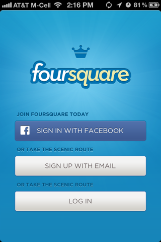 Foursquare iPhone sign up flows screenshot
