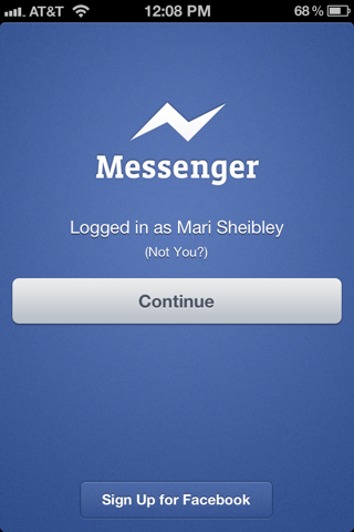 Facebook Messenger iPhone sign up flows screenshot