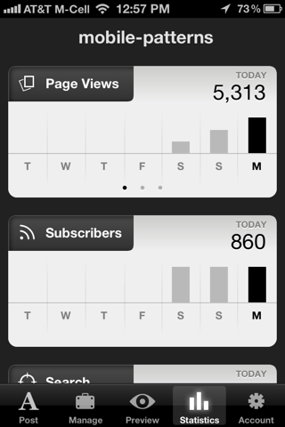 Squarespace iPhone stats screenshot