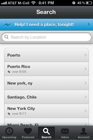 Airbnb iPhone search screenshot