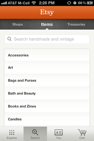 Etsy iPhone search screenshot