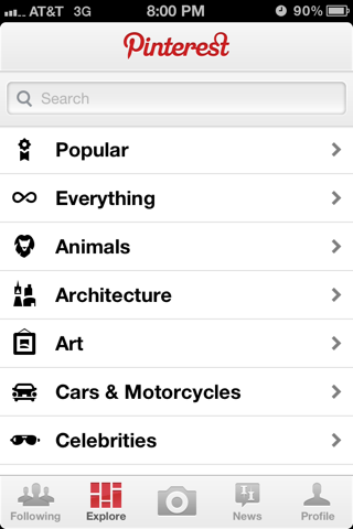 Pinterest iPhone search screenshot
