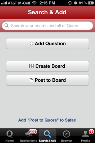 Quora iPhone search screenshot