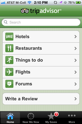 Trip Advisor iPhone search screenshot