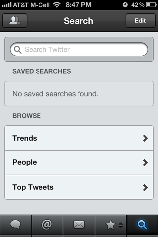 Tweet Deck iPhone search screenshot