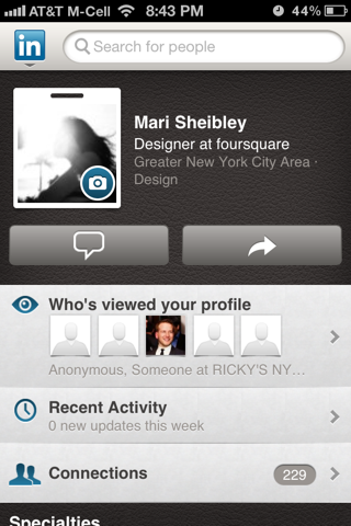 LinkedIn iPhone user profiles screenshot