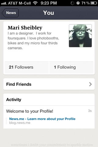 News.Me iPhone user profiles screenshot