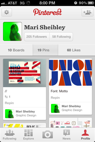 Pinterest iPhone user profiles screenshot