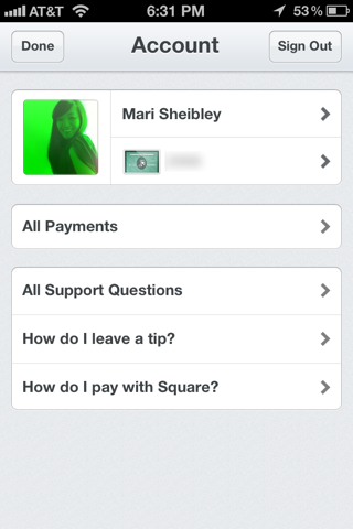 Square iPhone user profiles screenshot