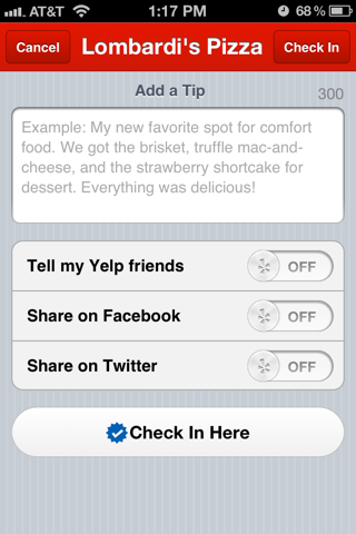 Yelp iPhone compose screens screenshot