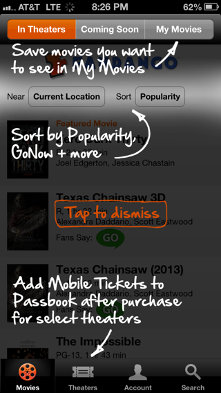 Fandango iPhone coach marks screenshot