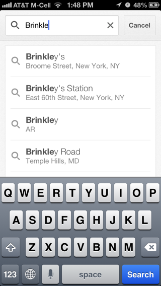 Googlemaps iPhone search screenshot