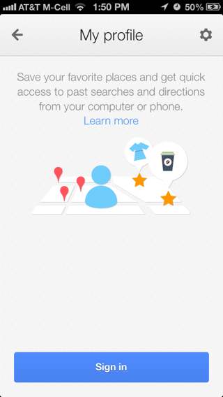 Googlemaps iPhone sign up flows screenshot