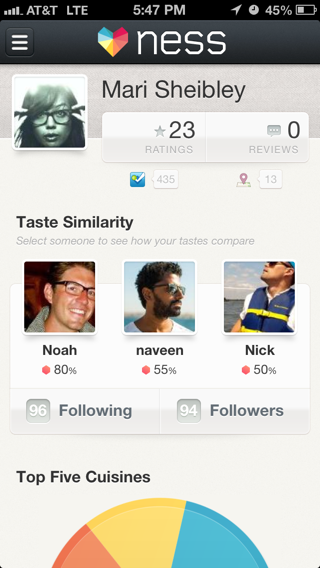 Ness iPhone user profiles screenshot