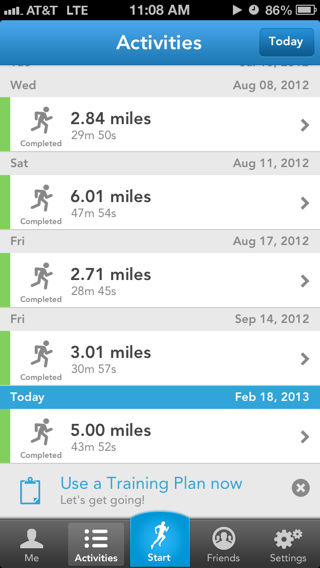 Runkeeper iPhone lists screenshot