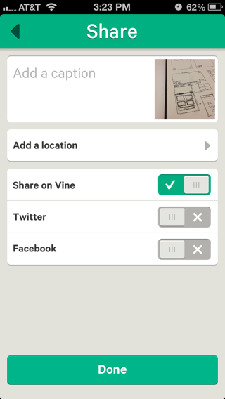 Vine iPhone compose screens screenshot