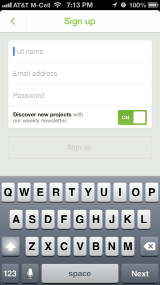 Kickstarter iPhone sign up flows screenshot