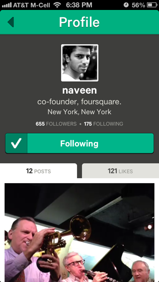Vine iPhone user profiles screenshot