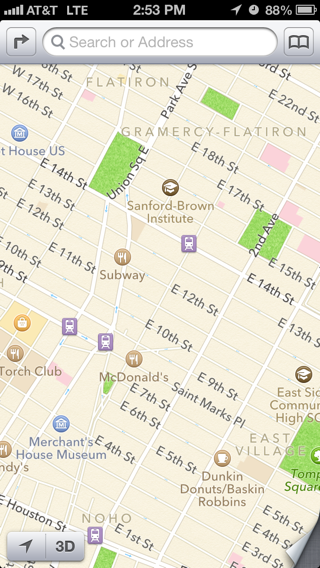 iOS iPhone maps screenshot