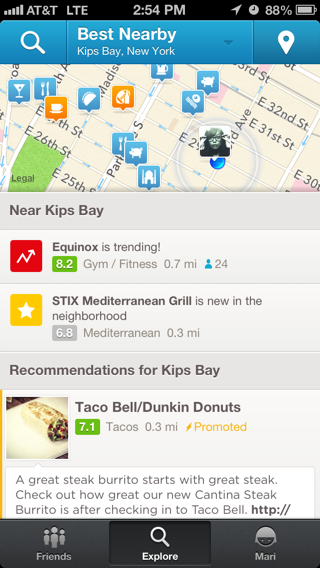 Foursquare iPhone maps screenshot