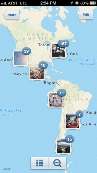 Instagram iPhone maps screenshot