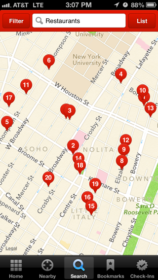 Yelp iPhone maps screenshot