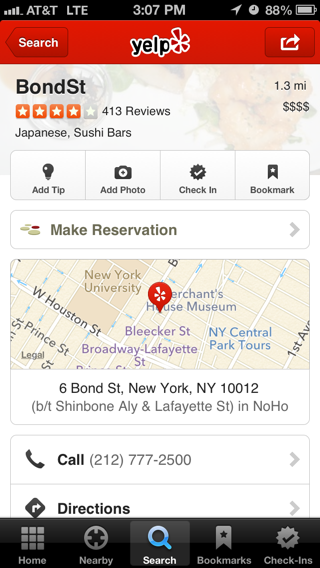 Yelp iPhone detail views screenshot