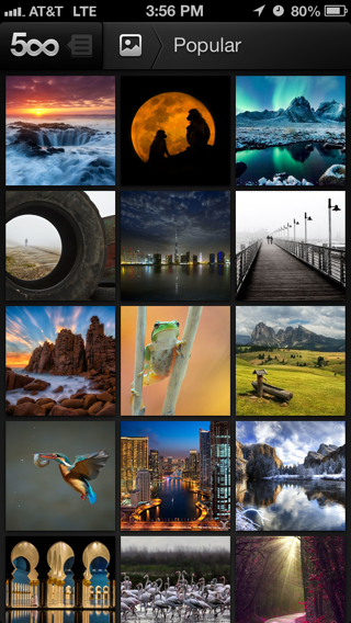500px iPhone galleries screenshot