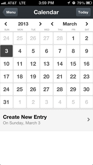Day One iPhone calendar screenshot