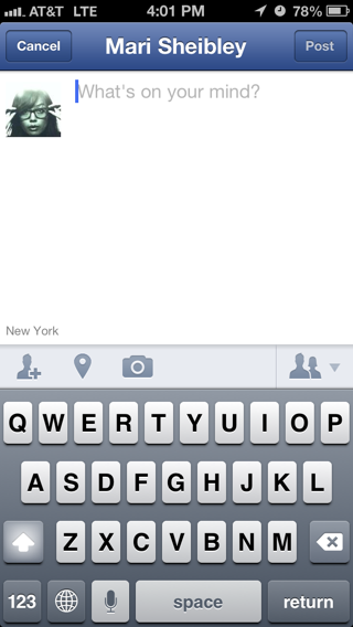 Facebook iPhone compose screens screenshot