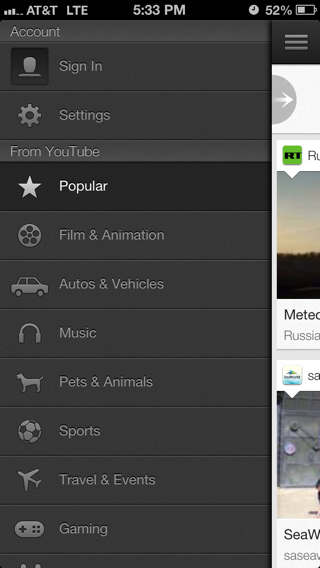YouTube iPhone custom navigation screenshot