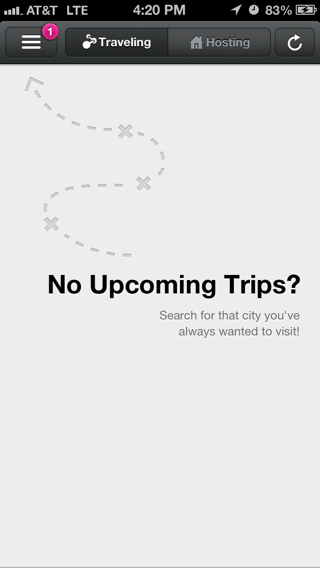 Airbnb iPhone empty data sets screenshot
