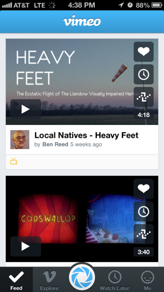 Vimeo iPhone feeds screenshot
