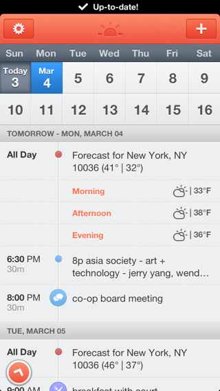 Sunrise iPhone calendar screenshot