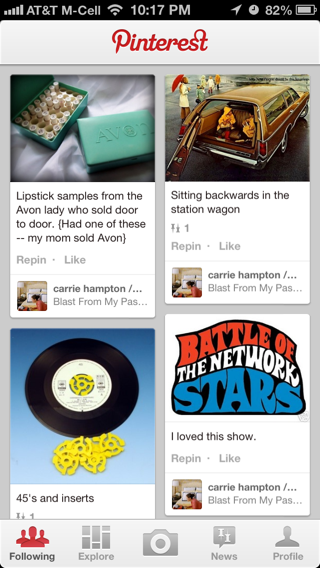 Pinterest iPhone feeds screenshot