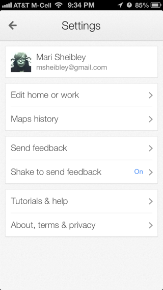 Googlemaps iPhone settings screenshot