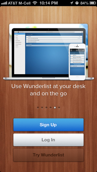 Wunderlist iPhone walkthroughs screenshot