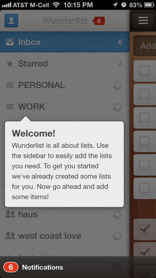 Wunderlist iPhone popovers screenshot